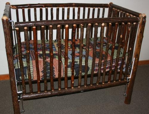 Hickory Log Baby Crib Standard. Hickory Log Baby Crib Standard   Barn Wood Furniture   Rustic