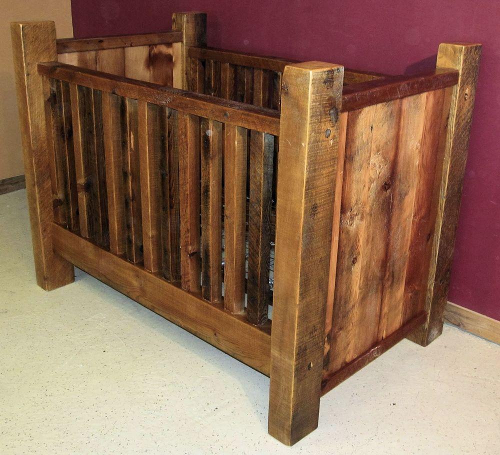 Rustic Barn Wood Baby Crib With Thick Posts Barn Wood