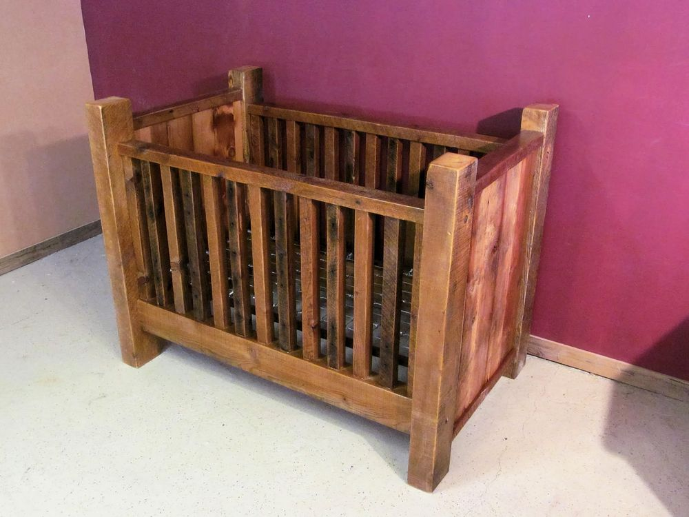 Rustic Barn Wood Baby Crib With Thick Posts — Barn Wood ...