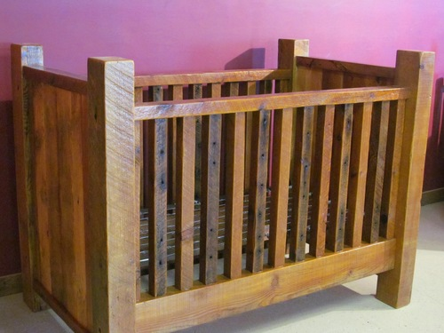 Rustic Barn Wood Baby Crib With Thick Posts Barn Wood Furniture