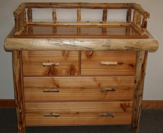 Cedar Log Changing Dresser