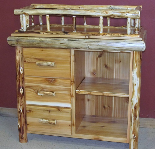Cedar Log Changing Table With Shelf And Drawers