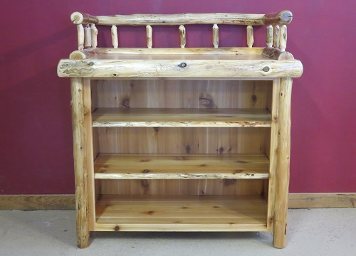 log changing table with shelves barn wood furniture rustic