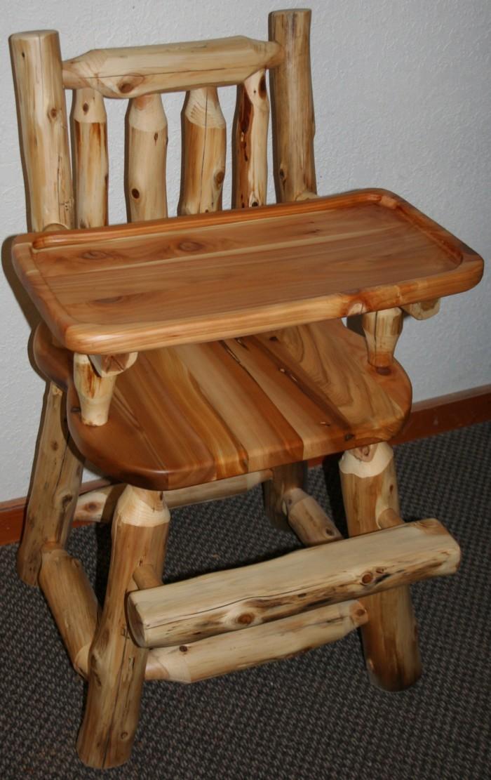 Log baby high chair 02 jpg   Rustic High Chairs. Log Baby Furniture and Childrens Log Furniture   Barn Wood