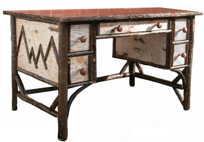 Hickory Birch Bark Desk