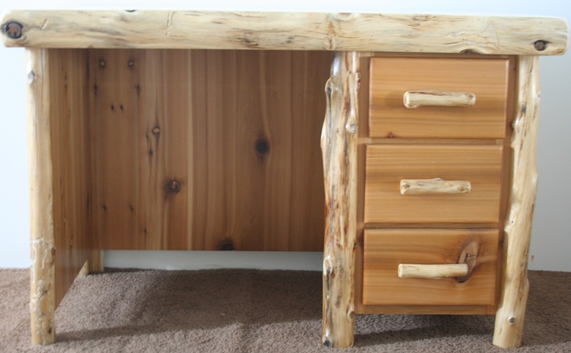 Cedar Log Writing Desk With Drawers