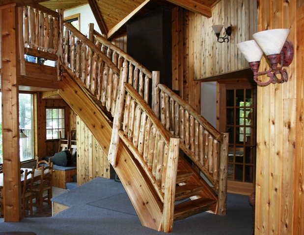 Superbe Curved Log Stairs