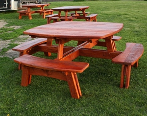Pine Picnic Table Barn Wood Furniture Rustic Barnwood And Log - Barn wood picnic table