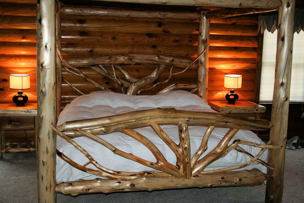 Bent Branch Canopy Log Bed - Bent Branch Canopy Log Bed — Barn Wood Furniture - Rustic Barnwood