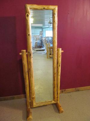 Cedar Log Full Length Floor Mirror — Barn Wood Furniture - Rustic ...