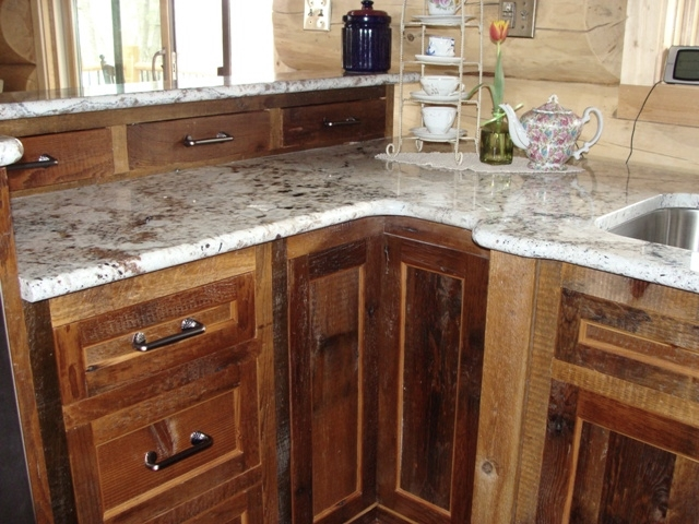 Reclaimed barnwood kitchen cabinets barn wood furniture for Barn style kitchen cabinets