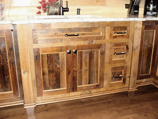 Reclaimed barnwood kitchen cabinets barn wood furniture for Inexpensive wood kitchen cabinets