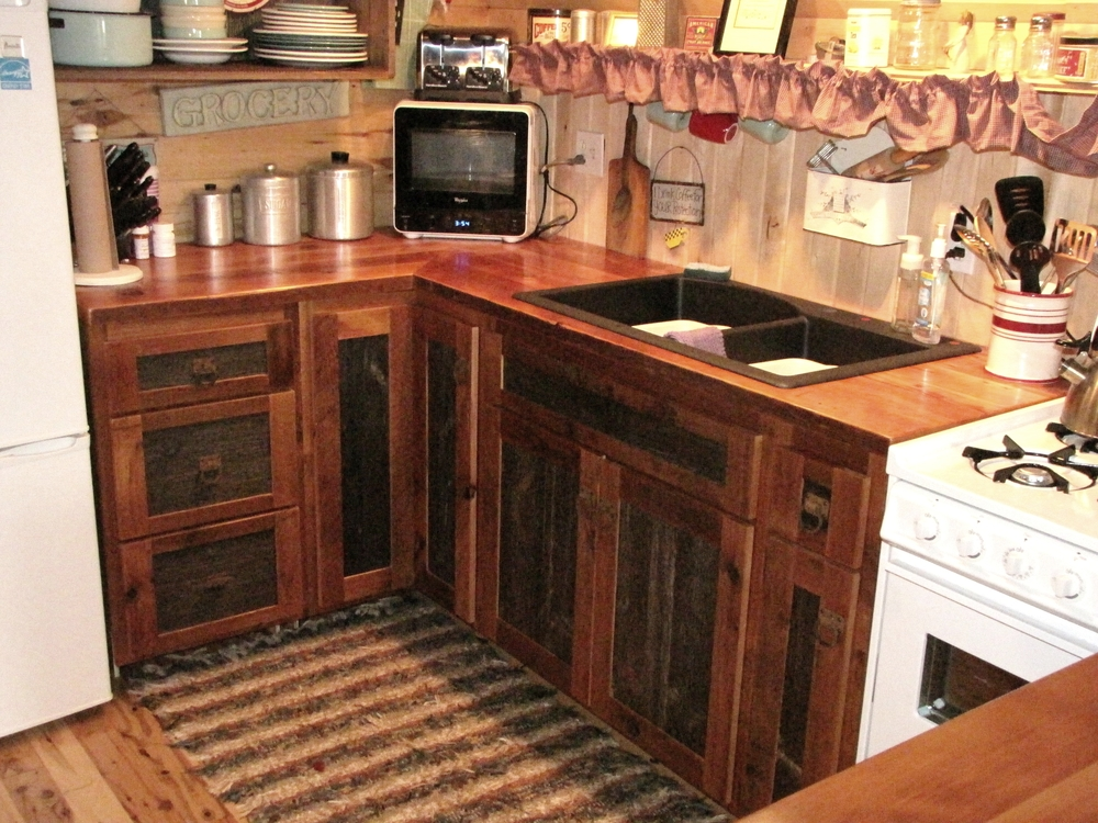 Reclaimed Barnwood Kitchen Cabinets — Barn Wood Furniture - Rustic Barnwood and Log Furniture By ...