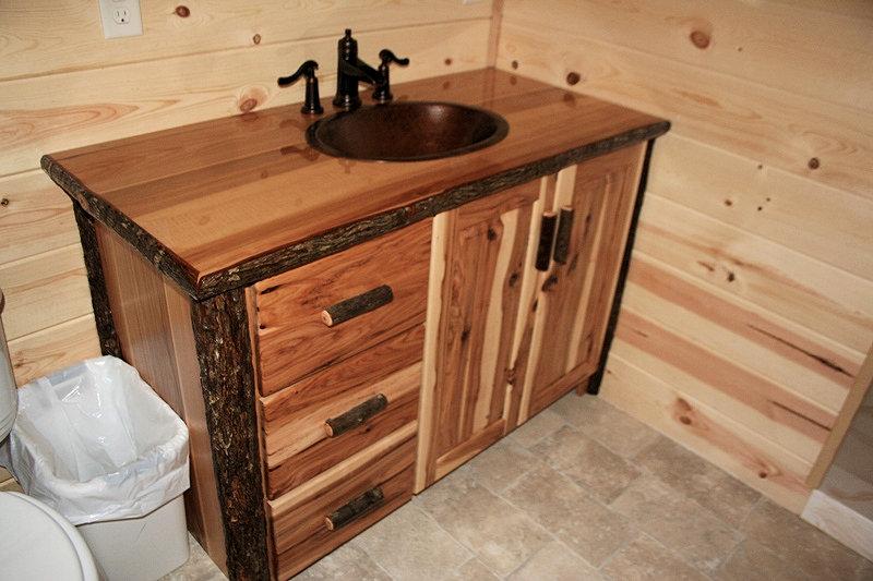 Hickory Log Vanity Barn Wood Furniture Rustic Barnwood And Log Furniture By Vienna Woodworks