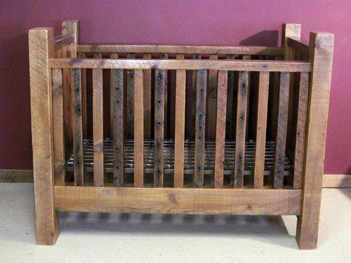 Convertible Barn Wood Baby Crib With Thick Posts Barn Wood
