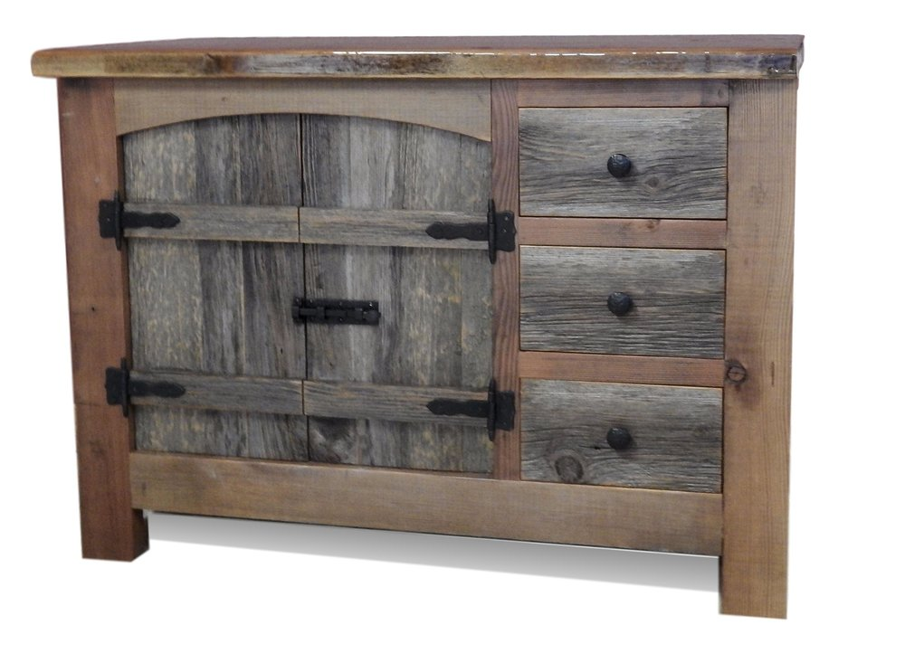 Arched barnwood vanity with drawers barn wood furniture rustic barnwood and log furniture by Wooden bathroom furniture cabinets
