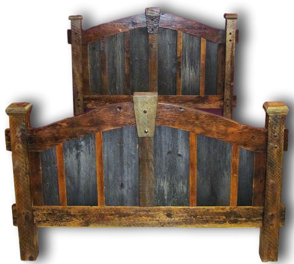 Barnwoodbedgraypanel231.jpeg. Arched KeyStone Gray Panel Barnwood Bed