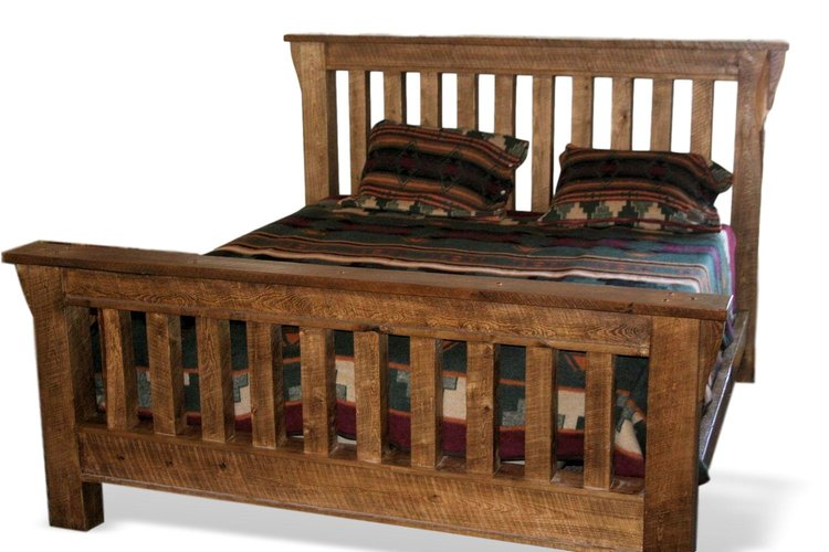 Weathered Timber Mission Style Bed Barn Wood Furniture