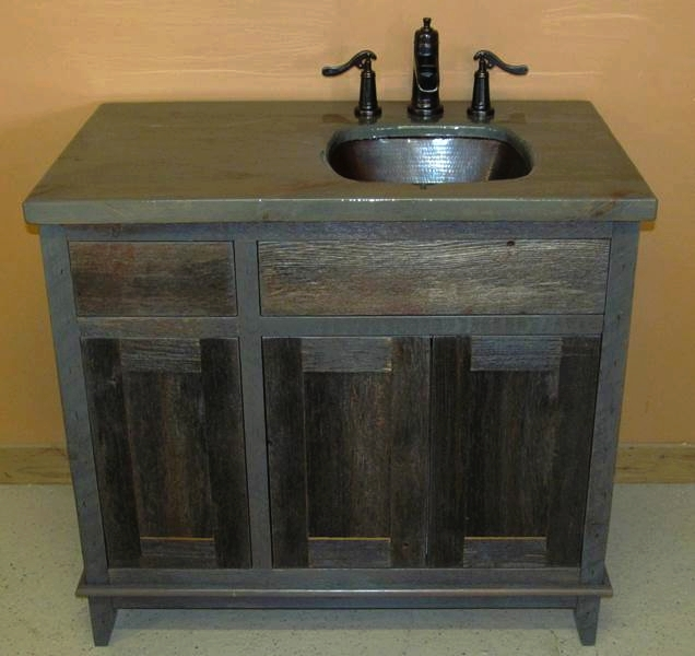 barn wood bath vanity. custom reclaimed chestnut bathroom vanity