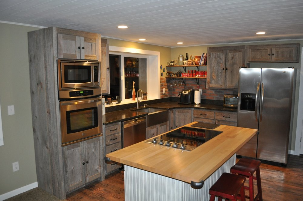 Weathered Gray Barn Wood Kitchen — Barn Wood Furniture ...