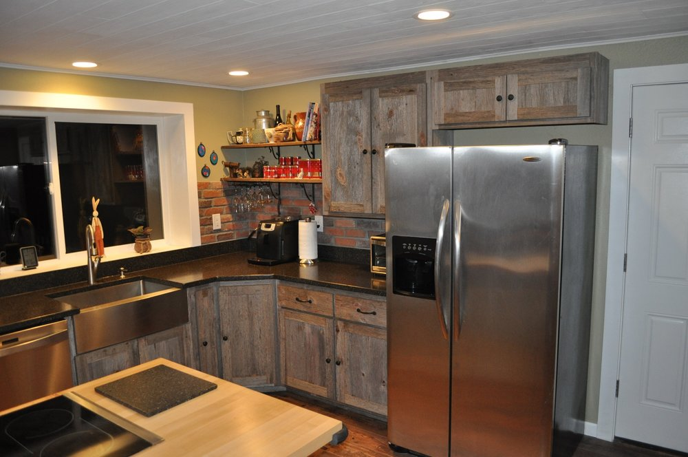 Weathered Gray Barn Wood Kitchen — Barn Wood Furniture ...