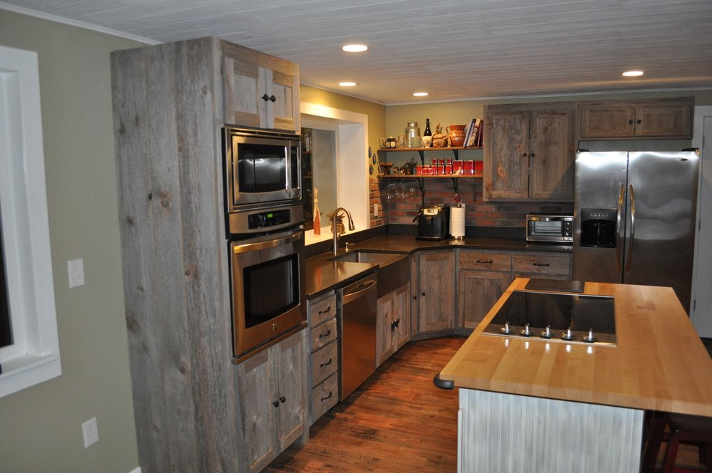 Weathered gray barn wood kitchen barn wood furniture for Kitchen cabinets that look like furniture