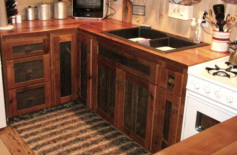 Brown And Gray Barnwood Kitchen Cabinets Barn Wood Furniture