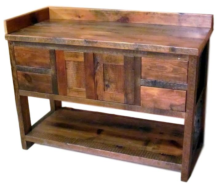 Minnesota Reclaimed Wood Vanity — Barn Wood Furniture - Rustic Furniture -  Log Furniture By Vienna Woodworks - Minnesota Reclaimed Wood Vanity €� Barn Wood Furniture - Rustic
