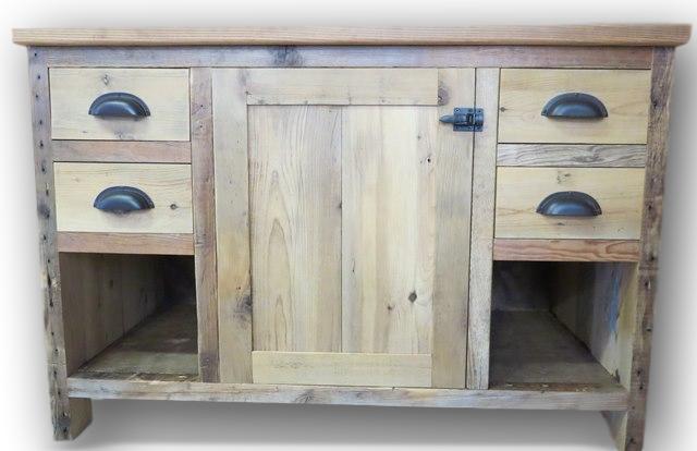 Antique Long Leaf Heart Pine Reclaimed Wood Vanity — Barn Wood Furniture -  Rustic Barnwood and Log Furniture By Vienna Woodworks - Antique Long Leaf Heart Pine Reclaimed Wood Vanity — Barn Wood