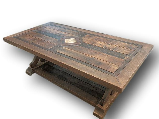Barnwood Coffee table with Copper Inlay by Vienna Woodworks LLC.