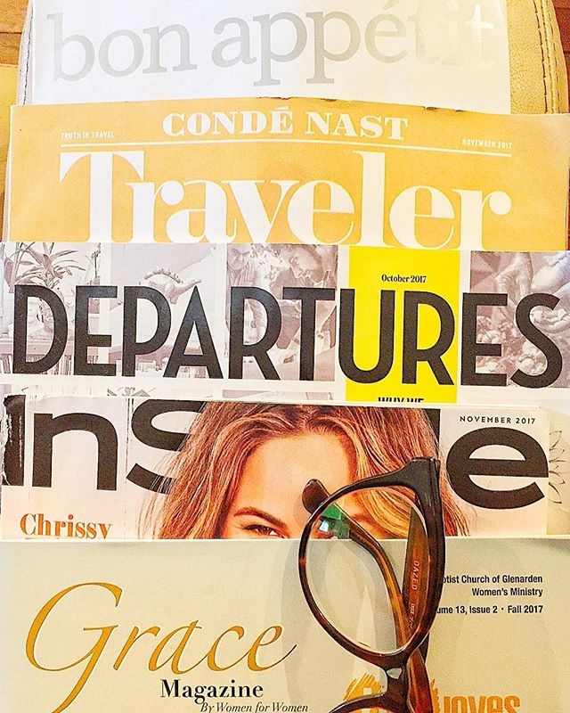 Feeding my obsession for Grace, style, travel, and food. The only thing missing is a design/decor magazine. . . . . #grace #style #travel #food #magazinelife #talesoftheunemployed