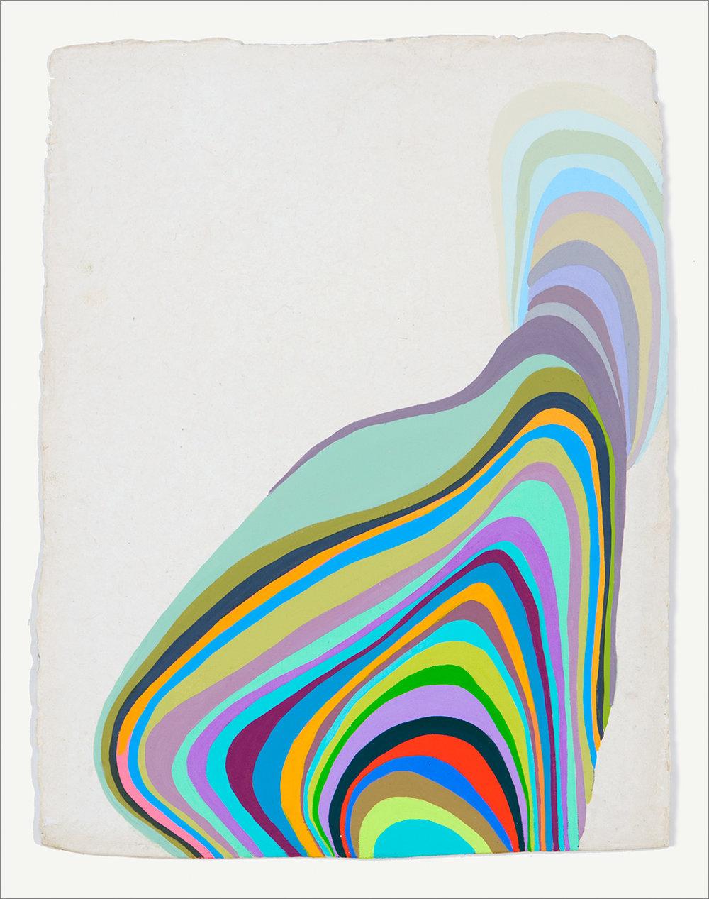"Plasmora #8, gouache on handmade paper, 13"" x 10"""