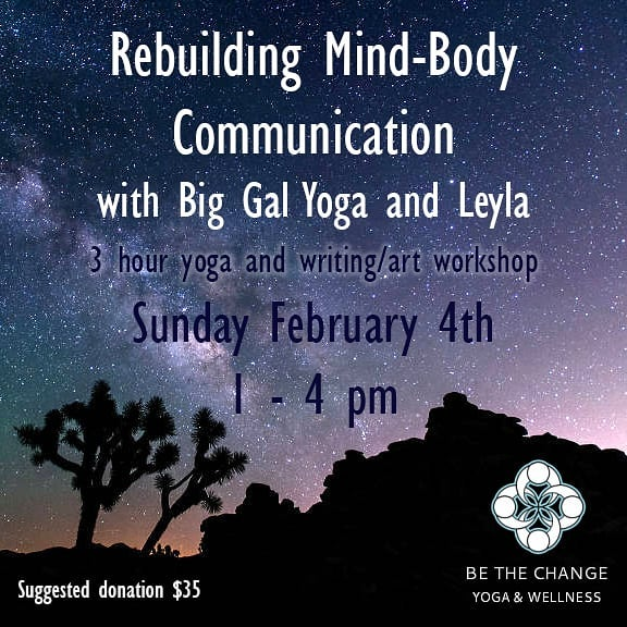 Join myself and my friend Leyla for another Re-building Mind Body Communication workshop this Sunday at @bethechangeyoga ! Whether being big or small we sometimes lose the positive connection and conversation that we have with our bodies. This workshop is about rebuilding that positive communication and re-introducing our bodies to ourselves. We'll be using yoga and an experimental art practice to explore the relationship you have with your body and support you in developing a dialogue based in love. Sign up through their website!