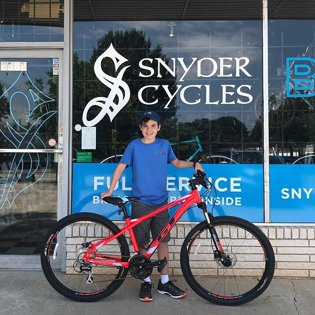 #newbikeday for Micah who saved up his own money mowing lawns to come get a new GT Aggressor! Have fun Micah!