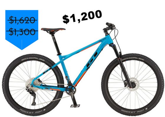 """GET FAT on this mid-fat 27.5+ GT Pantera Expert hardtail from 2017. Save $420 on RockShox Revelation, Shimano 1x drivetrain, and hydraulic disc brakes and 2.8"""" wide tires! Size Large available. Originally $1620, get it for just $1200."""