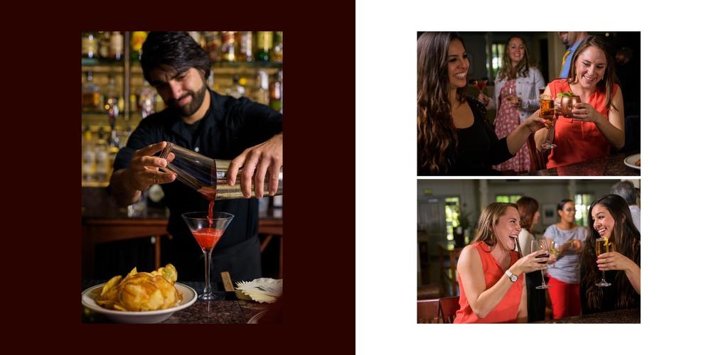 Bartender making a martini, female customers at the bar