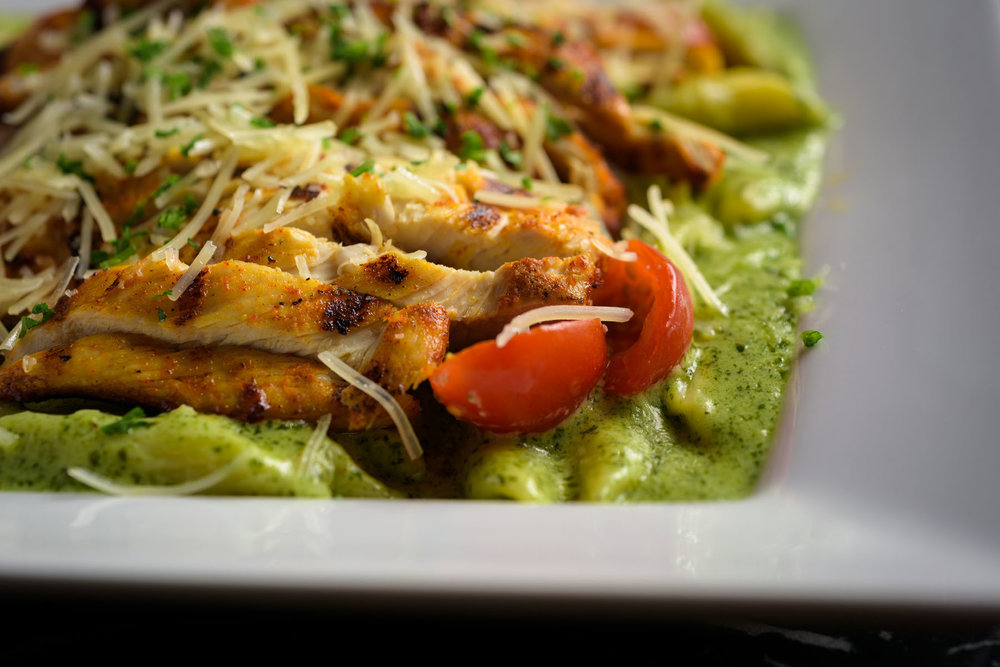 chicken pesto pasta – Food Photos at Firehouse 37 restaurant in San Ramon - by Bay Area commercial photographer Chris Schmauch