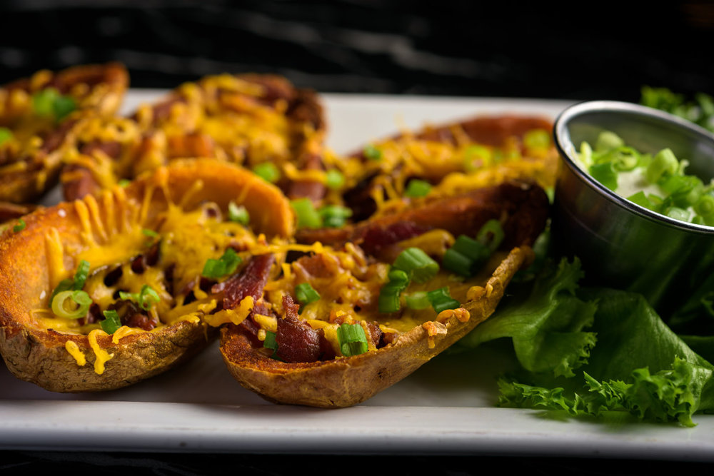 potato skin appetizer – Food Photos at Firehouse 37 restaurant in San Ramon - by Bay Area commercial photographer Chris Schmauch