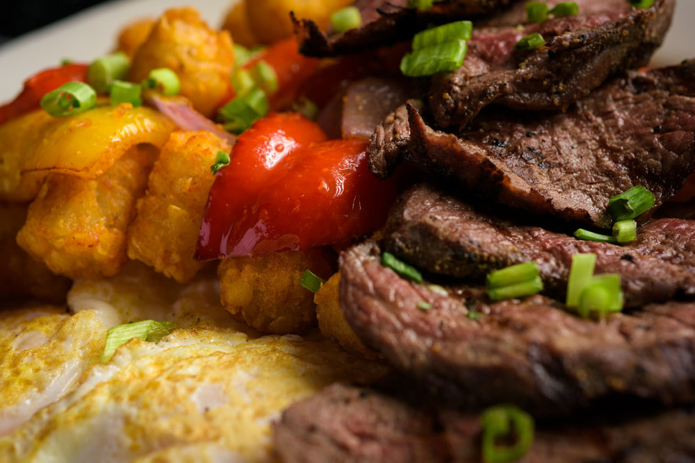 steak eggs and tater tots – Food Photos at Firehouse 37 restaurant in San Ramon - by Bay Area commercial photographer Chris Schmauch