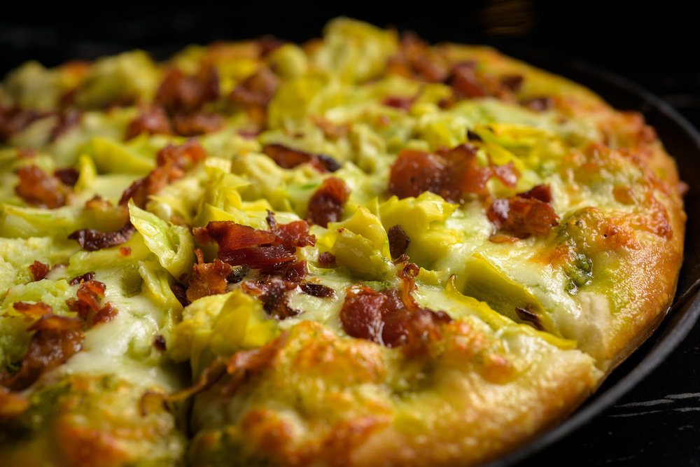 artichoke bacon pizza – Food Photos at Firehouse 37 restaurant in San Ramon - by Bay Area commercial photographer Chris Schmauch