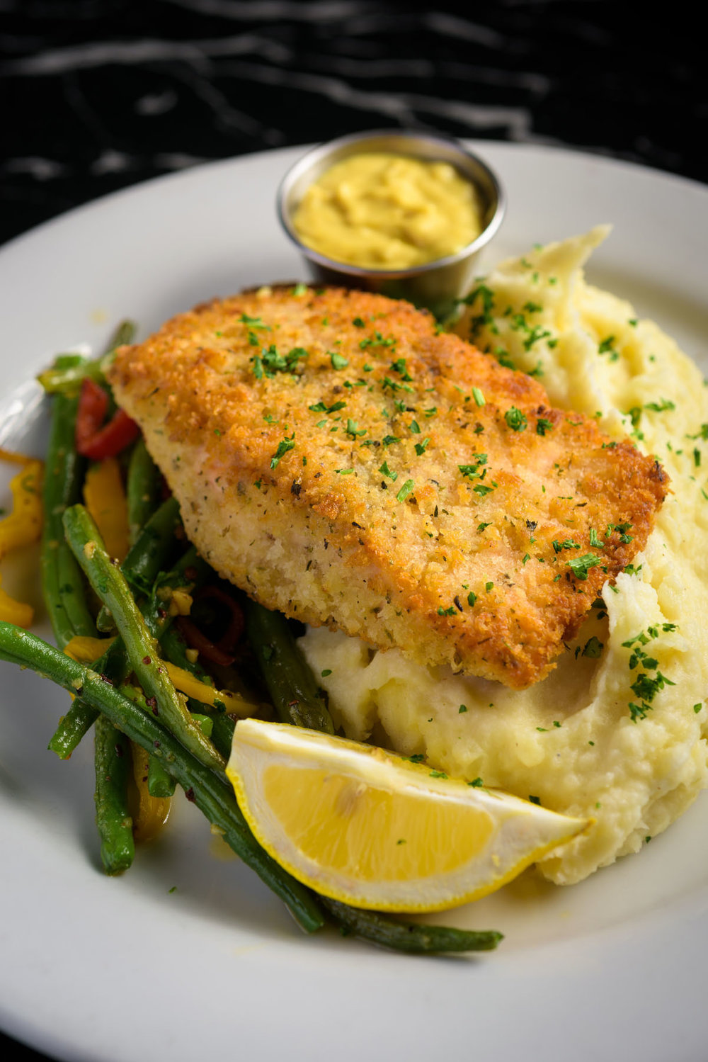 white fish and mashed potatoes – Food Photos at Firehouse 37 restaurant in San Ramon - by Bay Area commercial photographer Chris Schmauch
