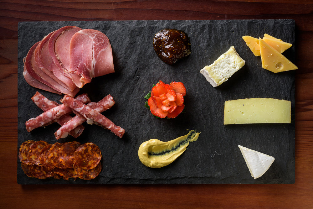 top view of meat and cheese platter - Cupertino food photography - RootStock Wine Bar - photos by Bay Area commercial photographer Chris Schmauch