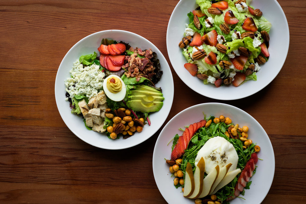 top/overhead view of three salad bowls - Cupertino food photography - RootStock Wine Bar - photos by Bay Area commercial photographer Chris Schmauch