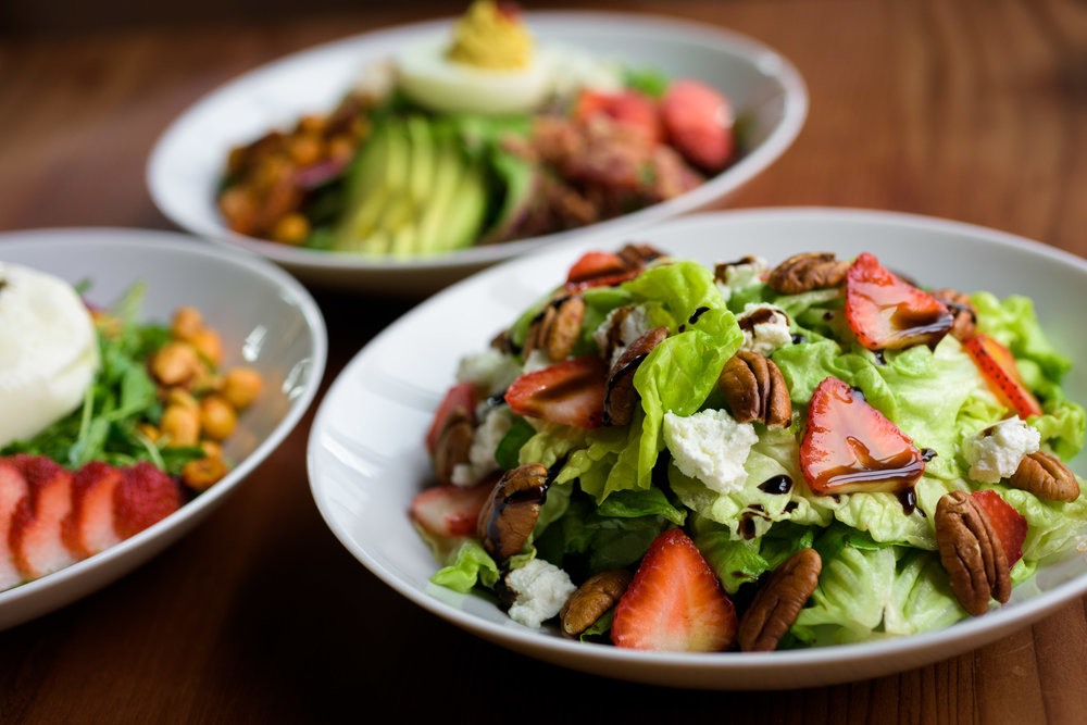 3/4 view of 3 salads in bowls - Cupertino food photography - RootStock Wine Bar - photos by Bay Area commercial photographer Chris Schmauch