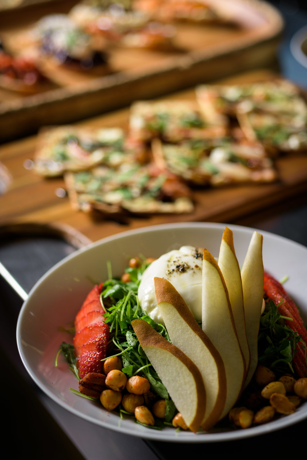 various salad and flatbread appetizers - Cupertino food photography - RootStock Wine Bar - photos by Bay Area commercial photographer Chris Schmauch