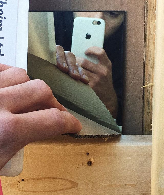 2-way mirror + cardboard yields 1-way mirror @ovhd.nyc