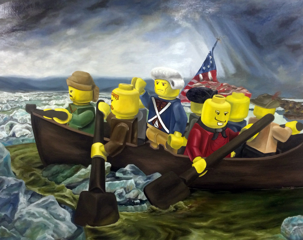 LEGO Washington Crossing the Delaware   Oil on Wood Panel  48 x 60 inches  2014