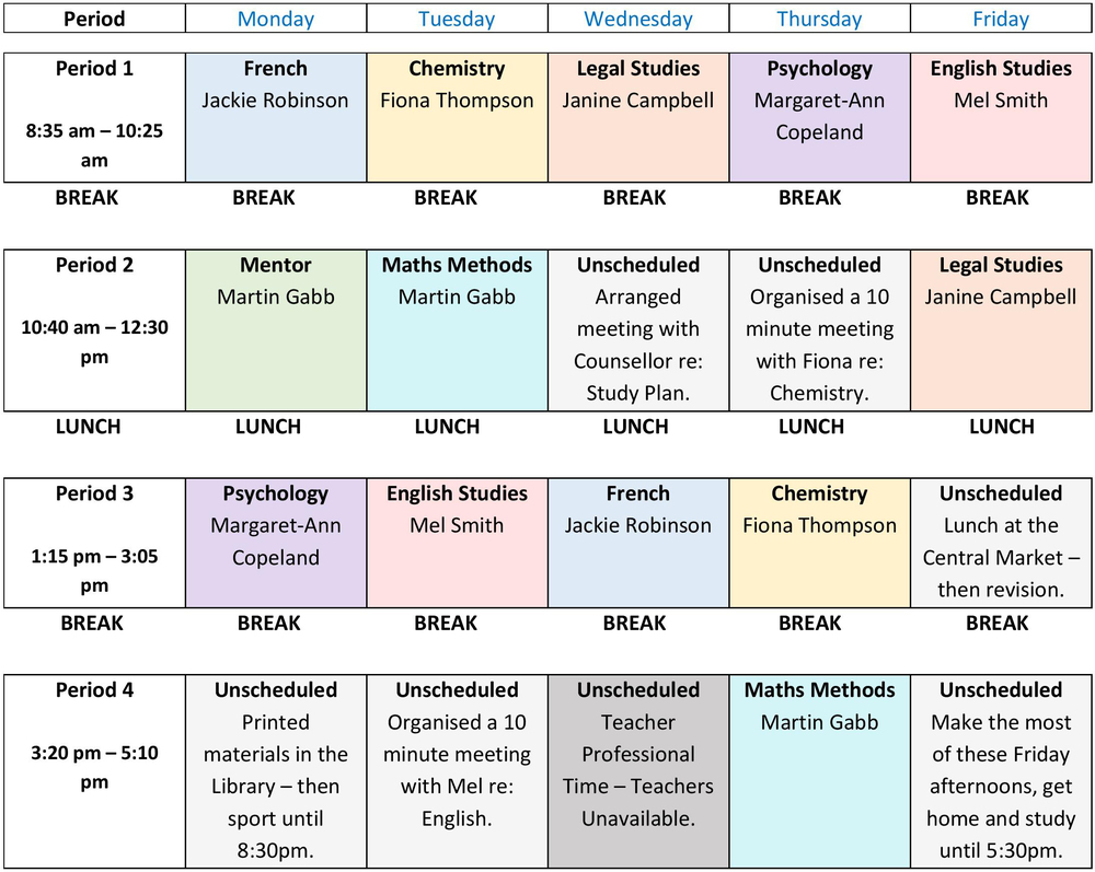 example year 11 timetable