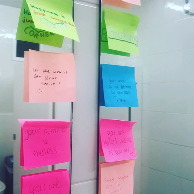 Spotted in the girls bathroom on Level 3. We love this #postitpositivity ✨💙💚💖