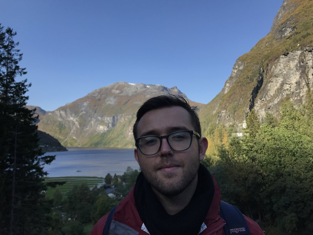 View of the Fjord (and Tim) from Geiranger